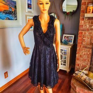 Love 21 black ruffles and lace wrap dress